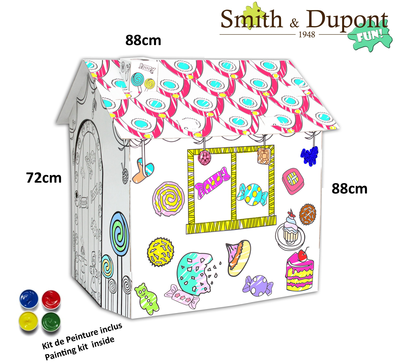 Grande Maison en Carton à Peindre Kit Peinture Inclus - A Parti de 2ans - Smith&Dupont Fun! (Maison Gourmande) product image