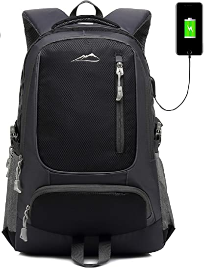 c3cfc9bef263 School Backpack Bookbag With USB Charging Port For College Travel Hiking  Fit Laptop Up to 15.6