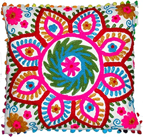 Amazon Com Traditional Jaipur Suzani Pillow Cover 16x16 Indian Outdoor Cushions Decorative Throw Boho Pillowcase Embroidered Cushion Cover Pom Pom Pillow Shams Home Kitchen