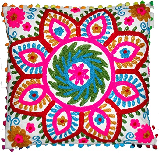 Tradicional Jaipur Suzani Funda de Almohada 16 x 16, Indian ...