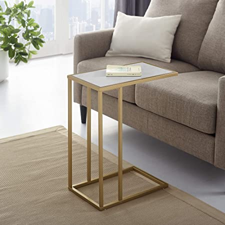 WE Furniture AZF20SCSTWM Side Table 20 Faux White Marble Gold
