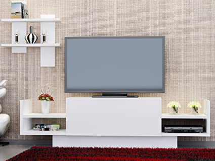 LaModaHome TV Stand Plain White Tv Unit With Shelves 1 Colored