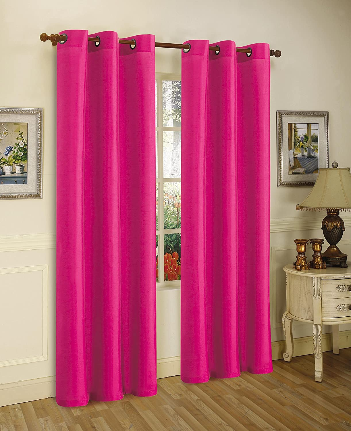 """Gorgeous HomeDIFFERENT Solid Colors & Sizes (#34) 1 Panel Solid Thermal Foam Lined Blackout Heavy Thick Window Curtain Drapes Silver Grommets (HOT Pink, 95"""" Length)"""
