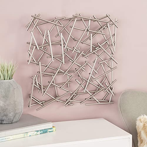 CosmoLiving by Cosmopolitan 56924 Large Contemporary Style Silver Abstract Art Square Metal Wall Decor Sculpture, 20 x 20