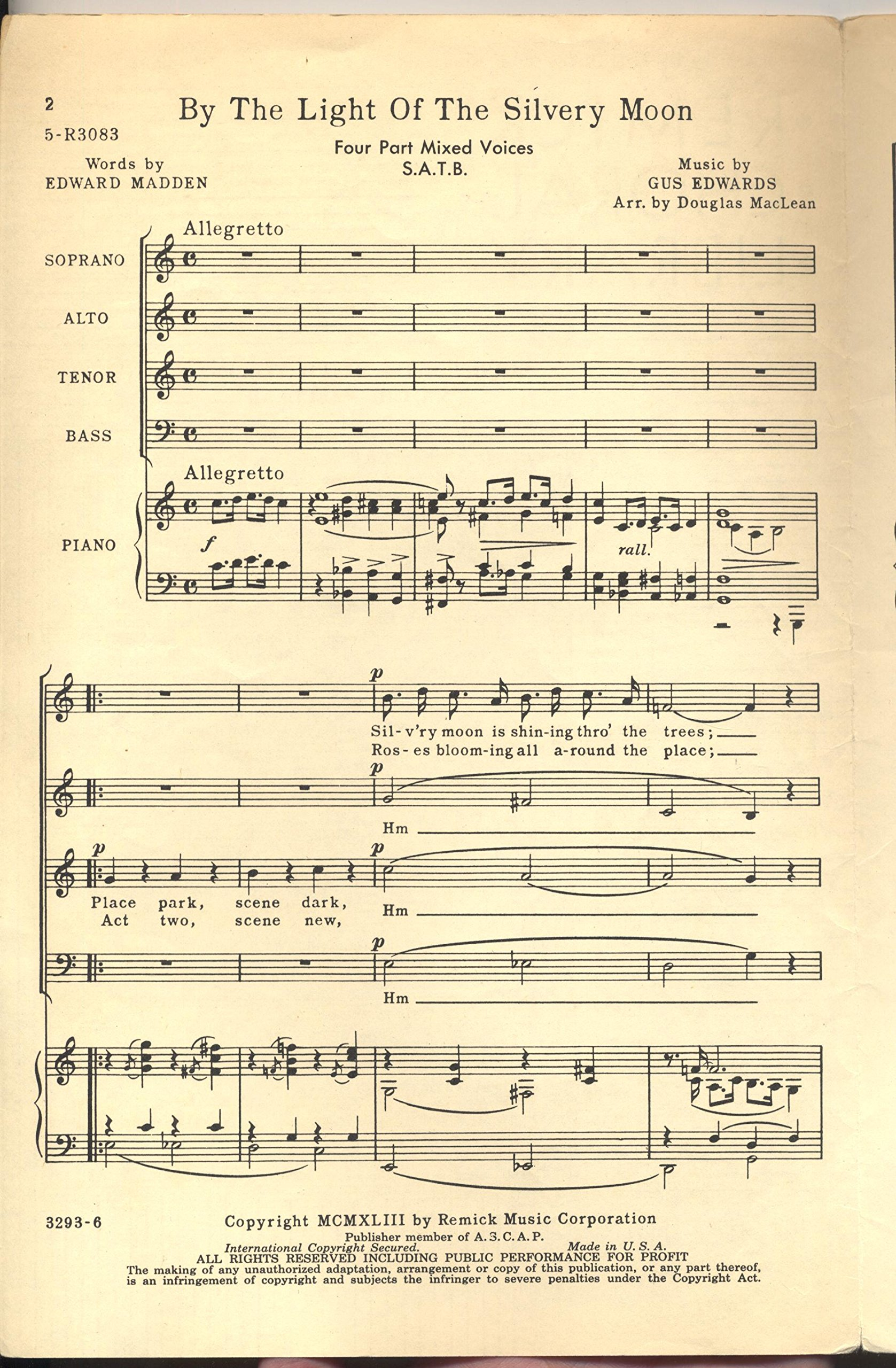 By the Light of the Silvery Moon SATB Edward Madden Gus Edwards