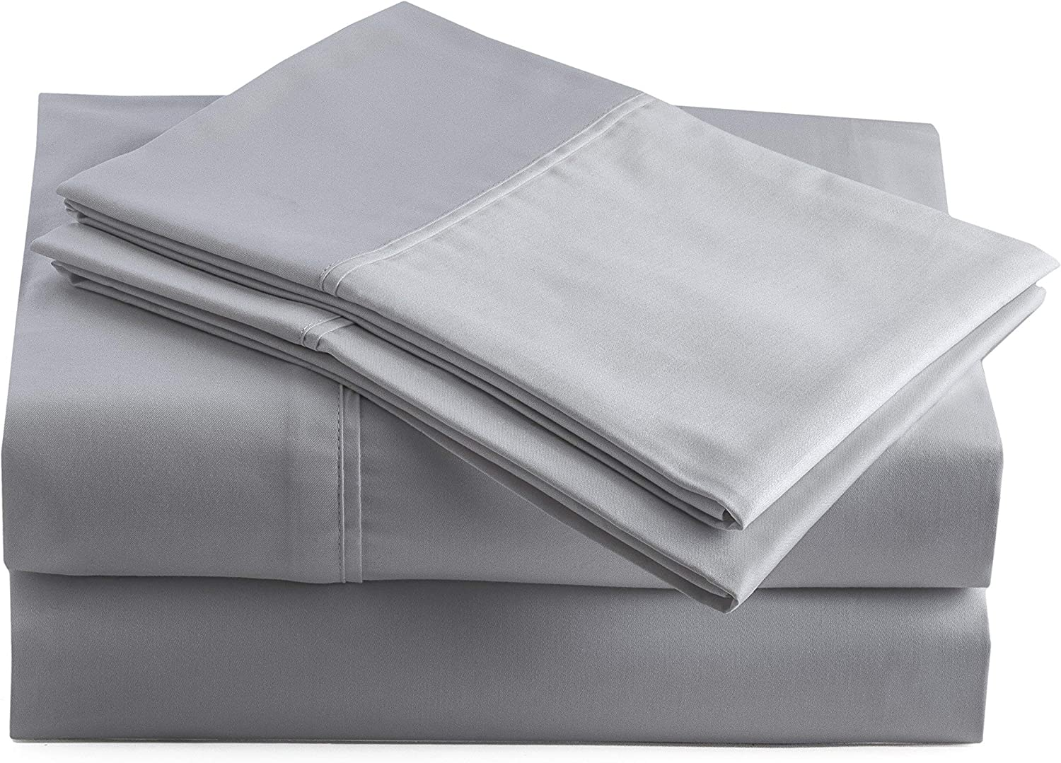 COTTONWALAS Soft Solid Pattern Egyptian Cotton 600 Thread Count 4 Piece Sheet Set Fits Upto 14-18'' Deep Pocket (Queen, Silver Grey)