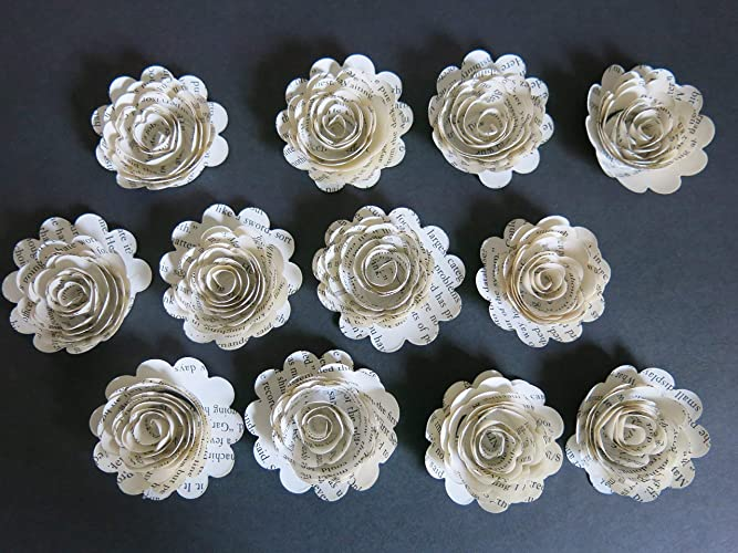 Amazon Scallop Book Page Roses Set Of 12 Handmade Paper