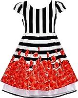 Girls Dress Black White Striped Red Flower Organza Hem Party Age 7-14 Years