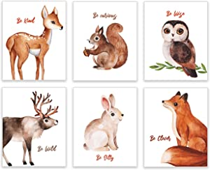 Woodland Nursery Wall Decor by KIU Designs - Set of 6 8x10 Inch | Woodland Creatures Nursery | Playroom Decor | Baby Room Decor | Baby Nursery Wall Decor | Nursery Decor | Nursery Wall Art