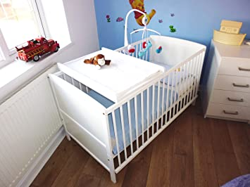 finest selection 34614 dff1b White Cot Bed B4Beds© Cotbed Deluxe Mattress and Top Changer-Junior Bed
