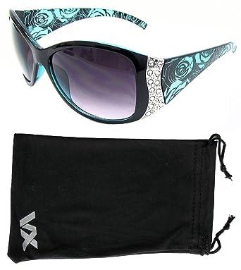 Lunettes de soleil Sport Design Fashion strass Vintage Floral lunettes VOX femmes – Cadre vert – Lentille fumée U24Mej