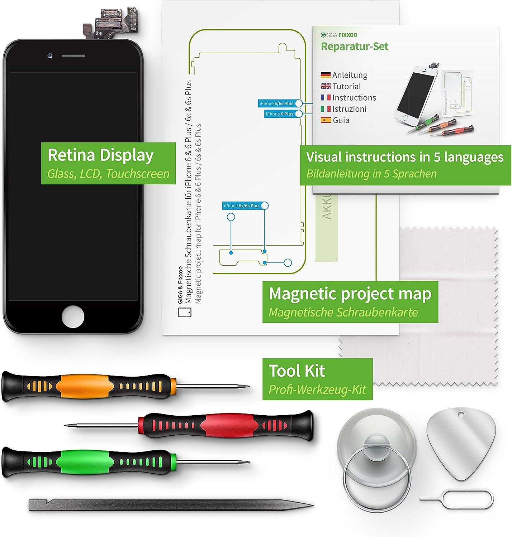 Giga Fixxoo Display Set Für Iphone 6 Plus Schwarz Elektronik
