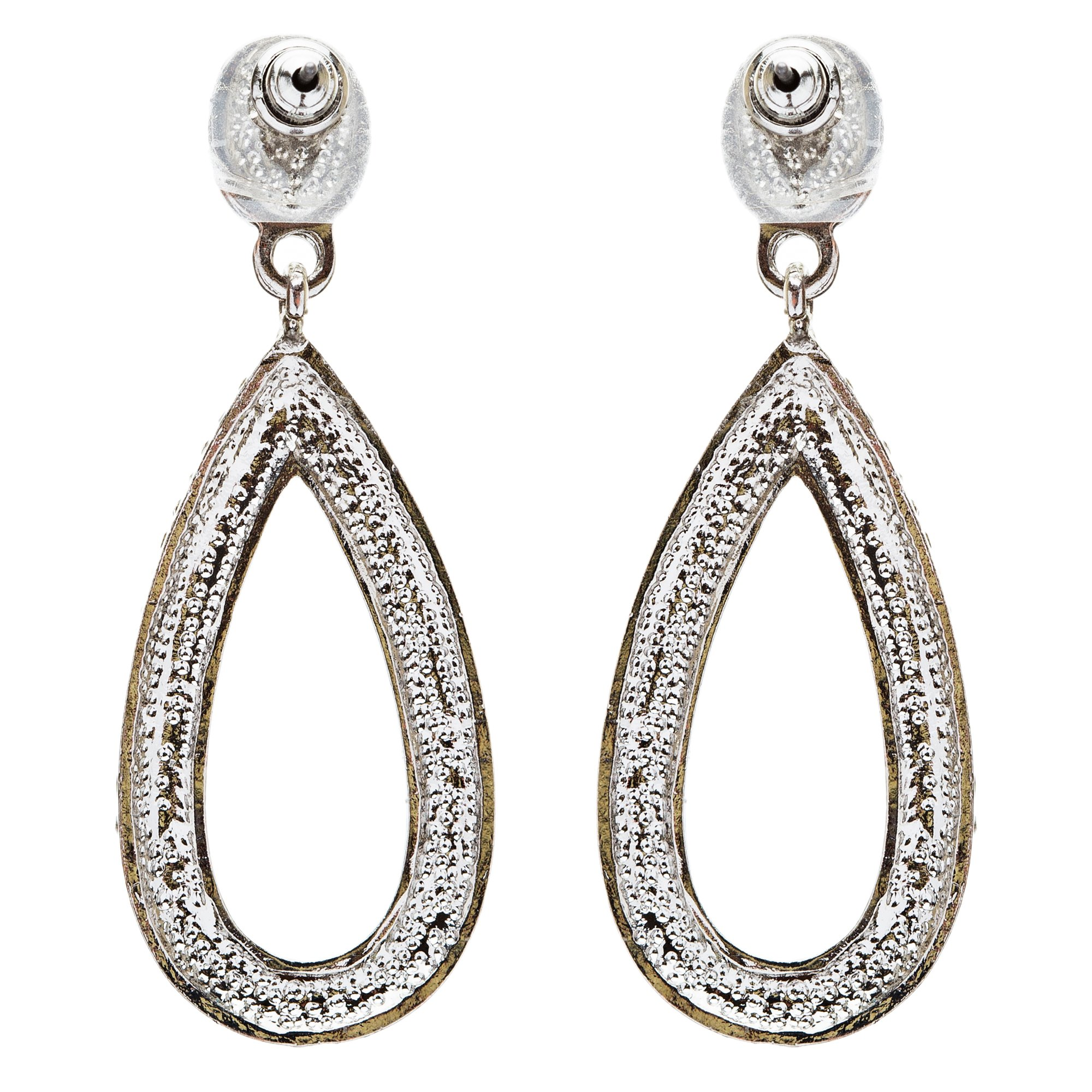 Bridal Wedding Jewelry Crystal Rhinestone Charming Tear Drop Earrings E735Silver by Accessoriesforever (Image #2)