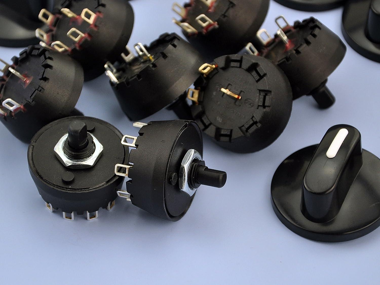with Knob. Electronics-Salon 1PCS SP3T 8A//250V 1 Pole 3 Way Rotary Switch