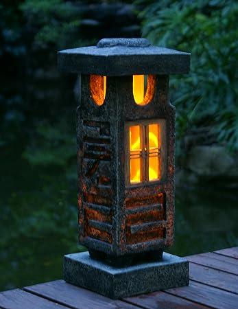 TIAAN 51CM Height Japanese Style Lantern Solar Garden Lamp Solar Pagoda  Light