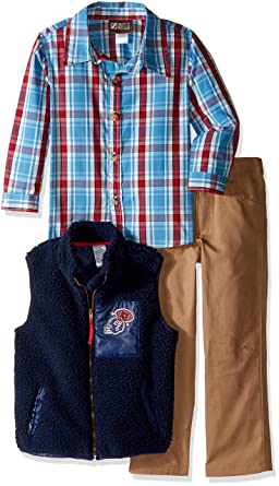 2514ce940 Amazon.com  BoyzWear Boys  3 Piece Sherpa Lined Vest with Plaid ...