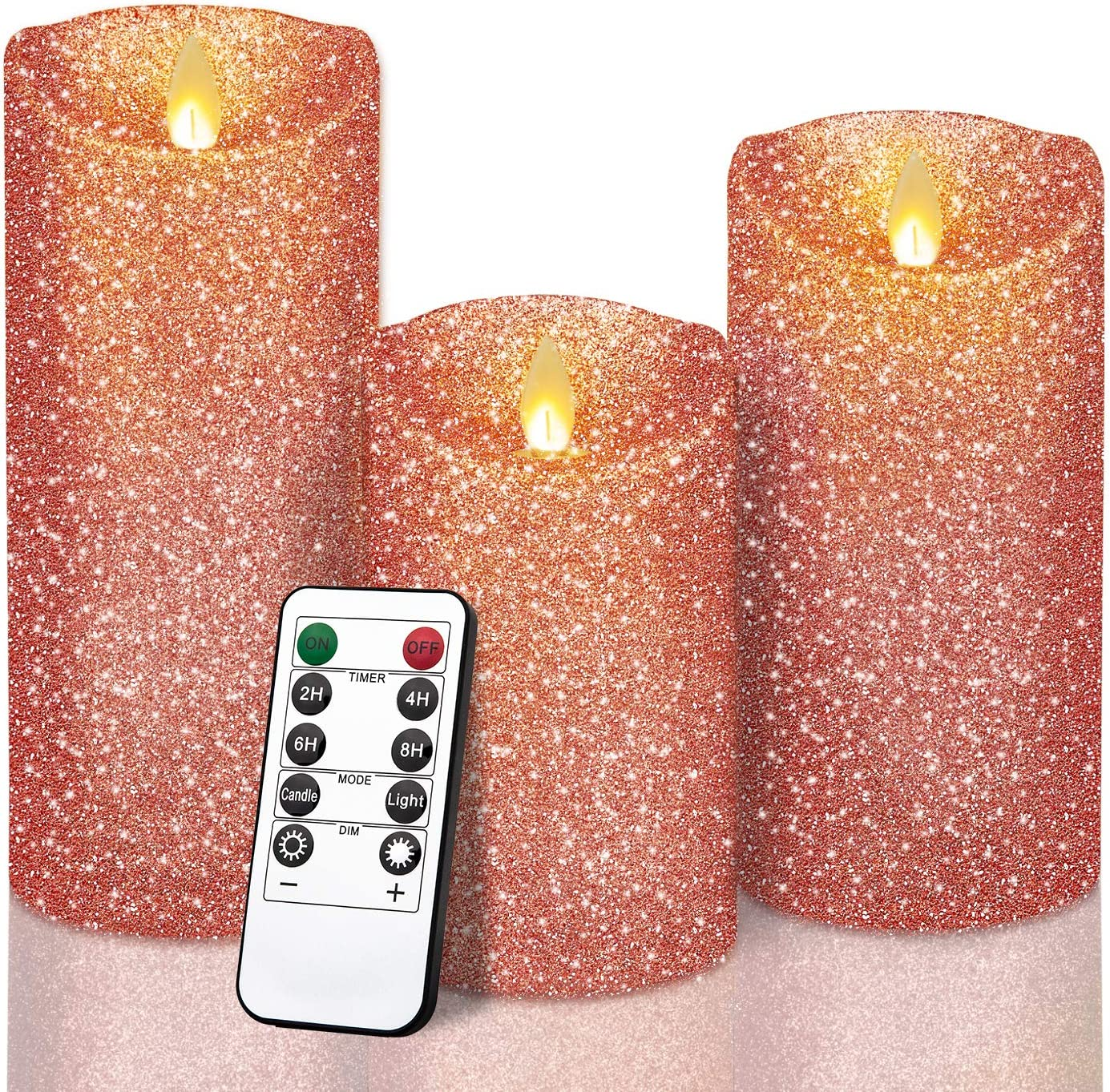 "YINUO LIGHT Rose Gold Glitter Candles, Real Wax Flameless LED Pillar Candles Battery Operated 4"" 5"" 6 "" Set of 3 with Remote and Timer"