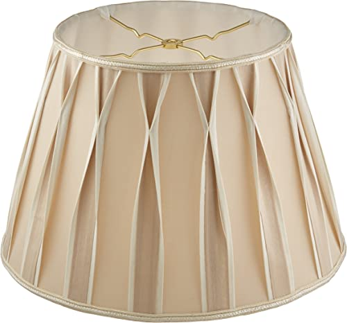 Royal Designs Bowtie Pleated Drum Designer Lamp Shade, Beige, 10.5 x 16 x 11