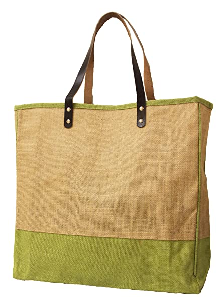 548499fcf1c5 Image Unavailable. Image not available for. Color  Jute Burlap Large Bag  with Leather handles ...