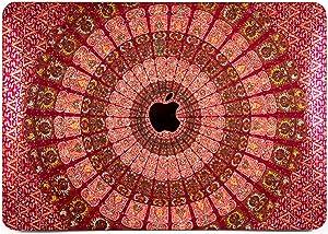 "Cavka Hard Glitter Case for Apple MacBook Pro 13"" 2019 Retina 15"" Mac Air 11"" Mac 12"" Bling Mandala Cover Glossy Design Boho Print Sparkly Eastern Rose Gold Bright Beautiful Red Pattern Shiny Silver"