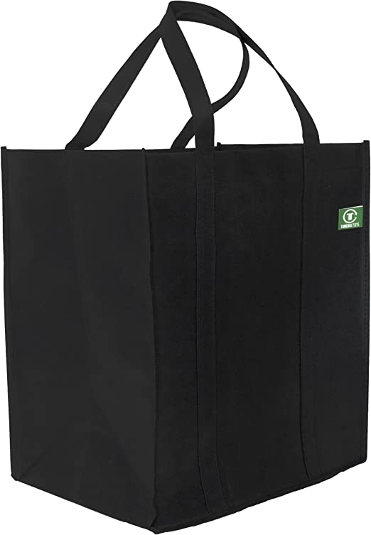 Grocery Tote Bag with Reinforced Handles /& Thick Plastic Bottom for Strength Extra Large /& Super Strong Heavy Duty Shopping Bags - Hold 40+ lbs 5 Pack, Black Reusable Grocery Bags
