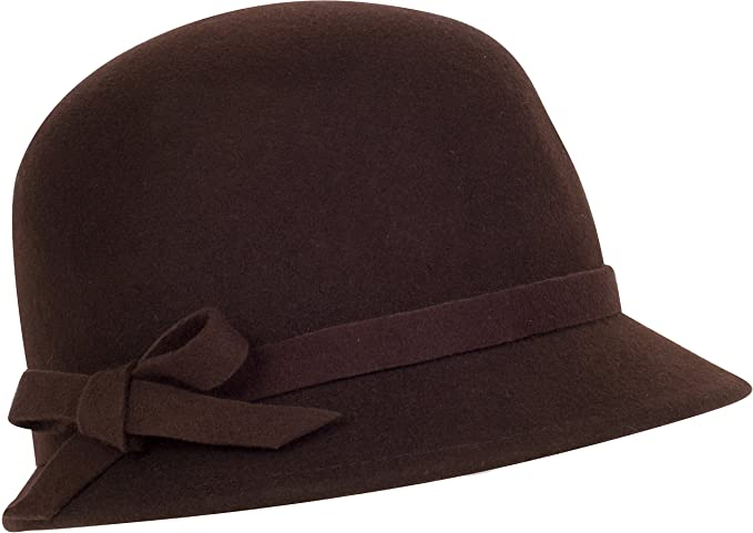 Sakkas Sally Vintage Style Wool Cloche Bucket Winter Hat with Bow Accent $24.99 AT vintagedancer.com