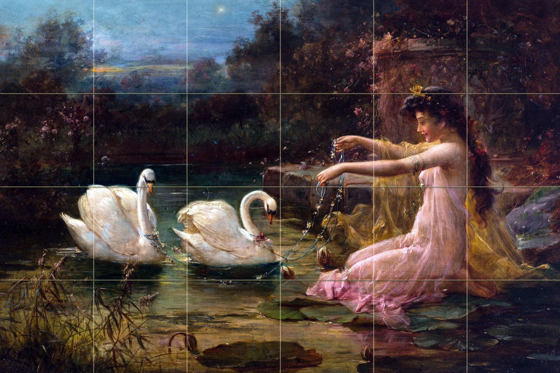 Landscape lady at the swan lake by Hans Zatzka Tile Mural Kitchen Bathroom Wall Backsplash Behind Stove Range Sink Splashback 6x4 6'' Marble, Matte by FlekmanArt