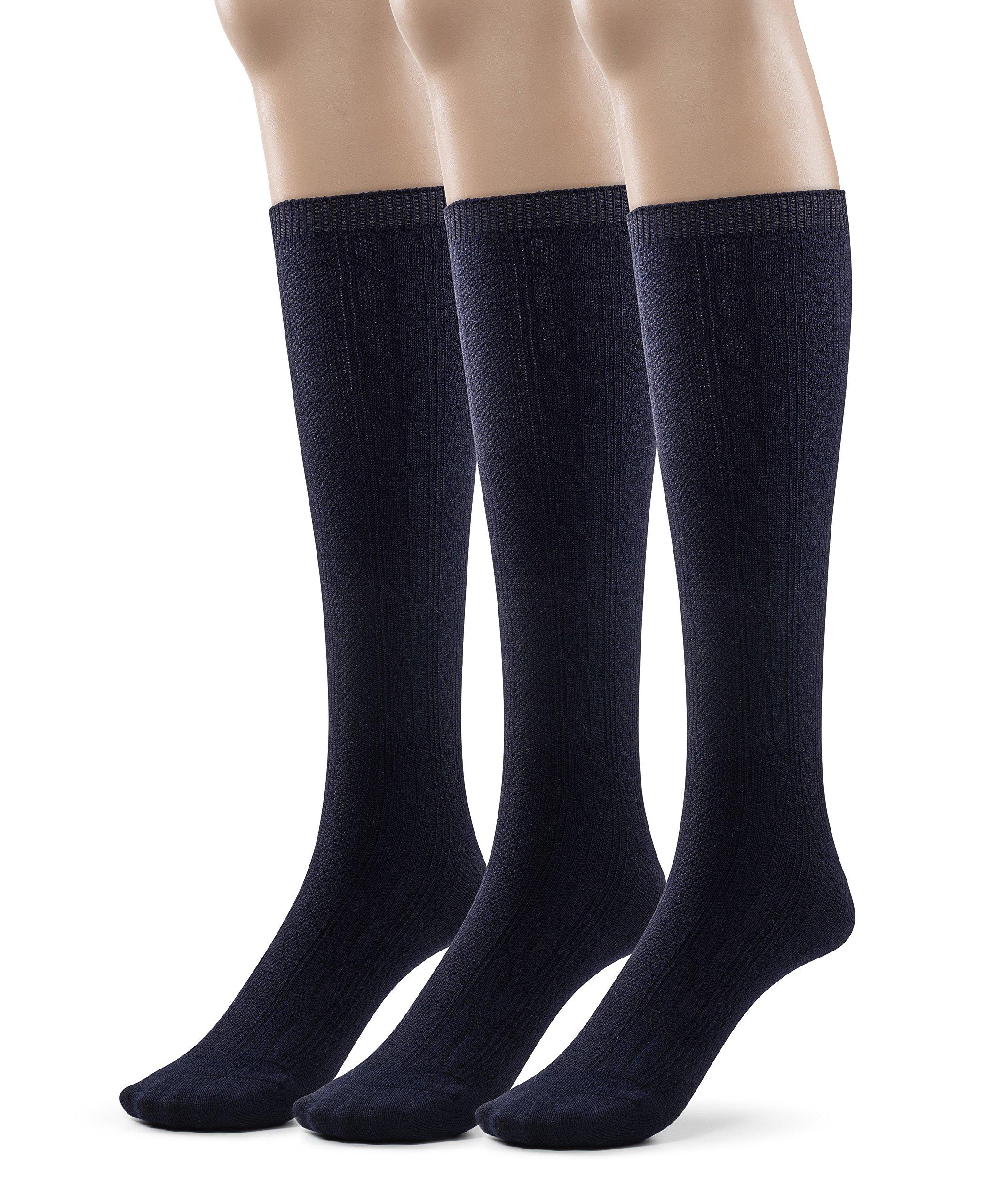 Girls Bamboo Casual Knee High Socks, School Uniform Colors (Large (9-11), Navy)