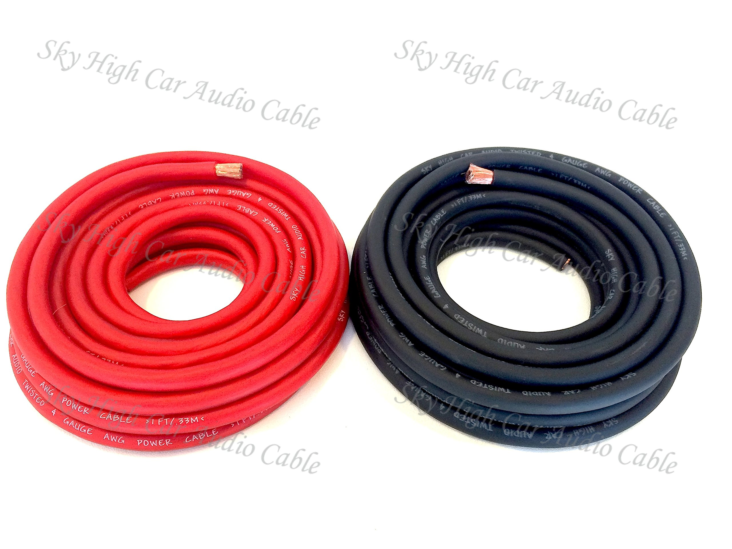 100 ft OFC 4 Gauge Oversized 50' RED & 50' BLACK Power Ground Wire Sky High Car