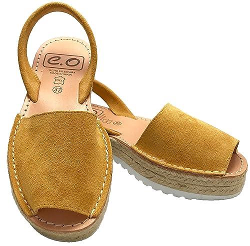 ed8c8e2d560b Espadrilles Platform Avarcas - Leather Sandals Women (Mustard Size 10)