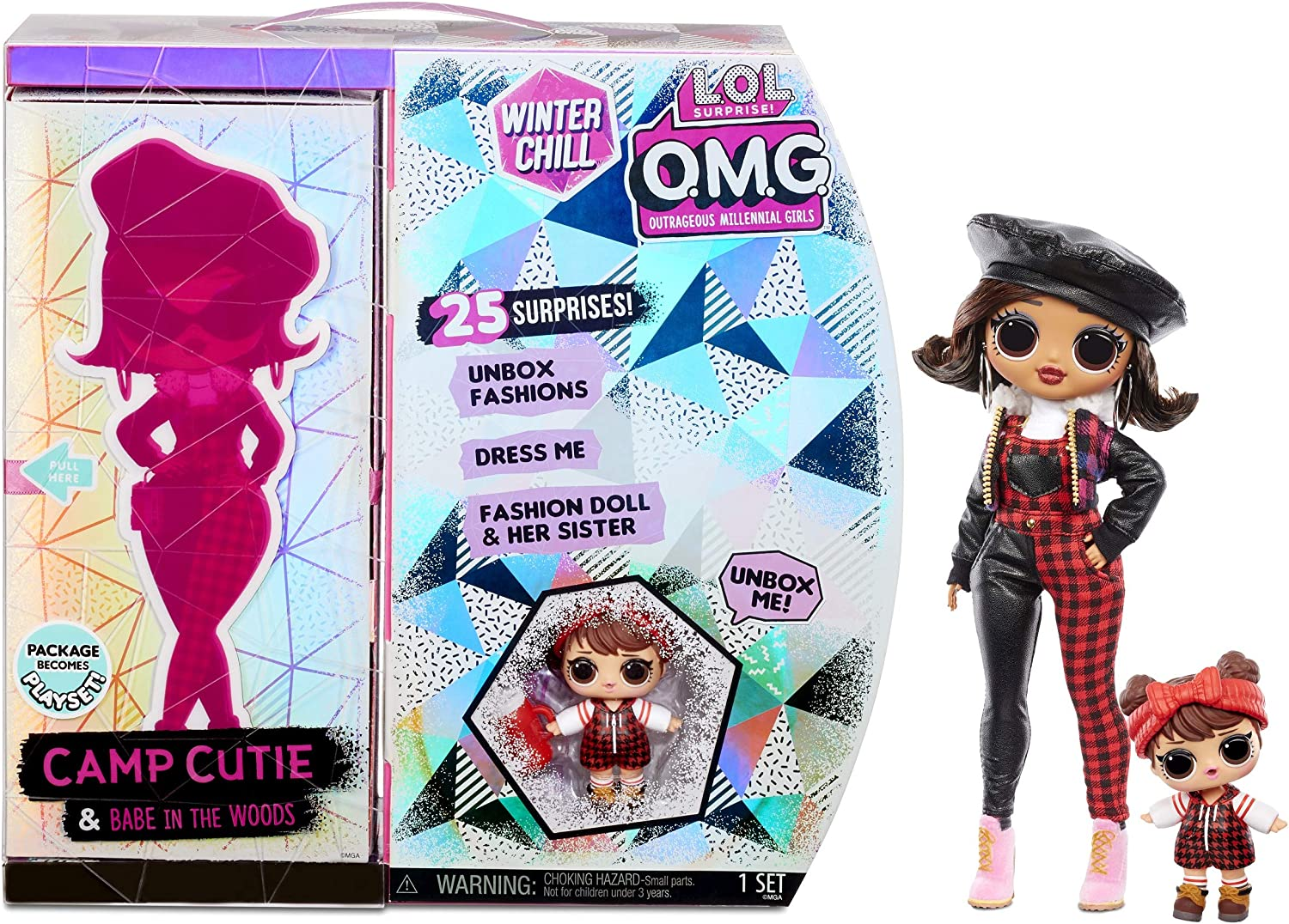Lol Surprise Omg Winter Chill Camp Cutie Fashion Doll Sister Babe In The Woods Doll Con 25 Sorpresas Para Unbox Ropa Y Accesorios Con Juego Reutilizable Para Niños Niñas