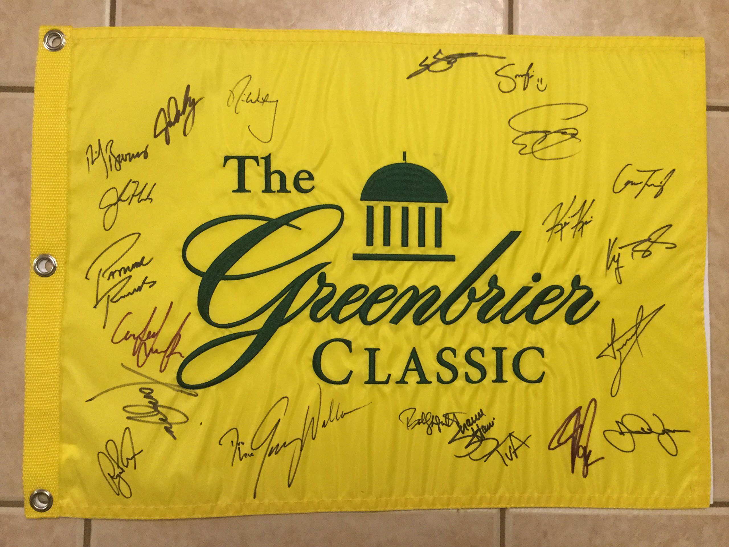 2017 Greenbrier Classic PGA Tour Golf Flag Signed by 22 Golfers Daly, Donald, Walker, Watney COA