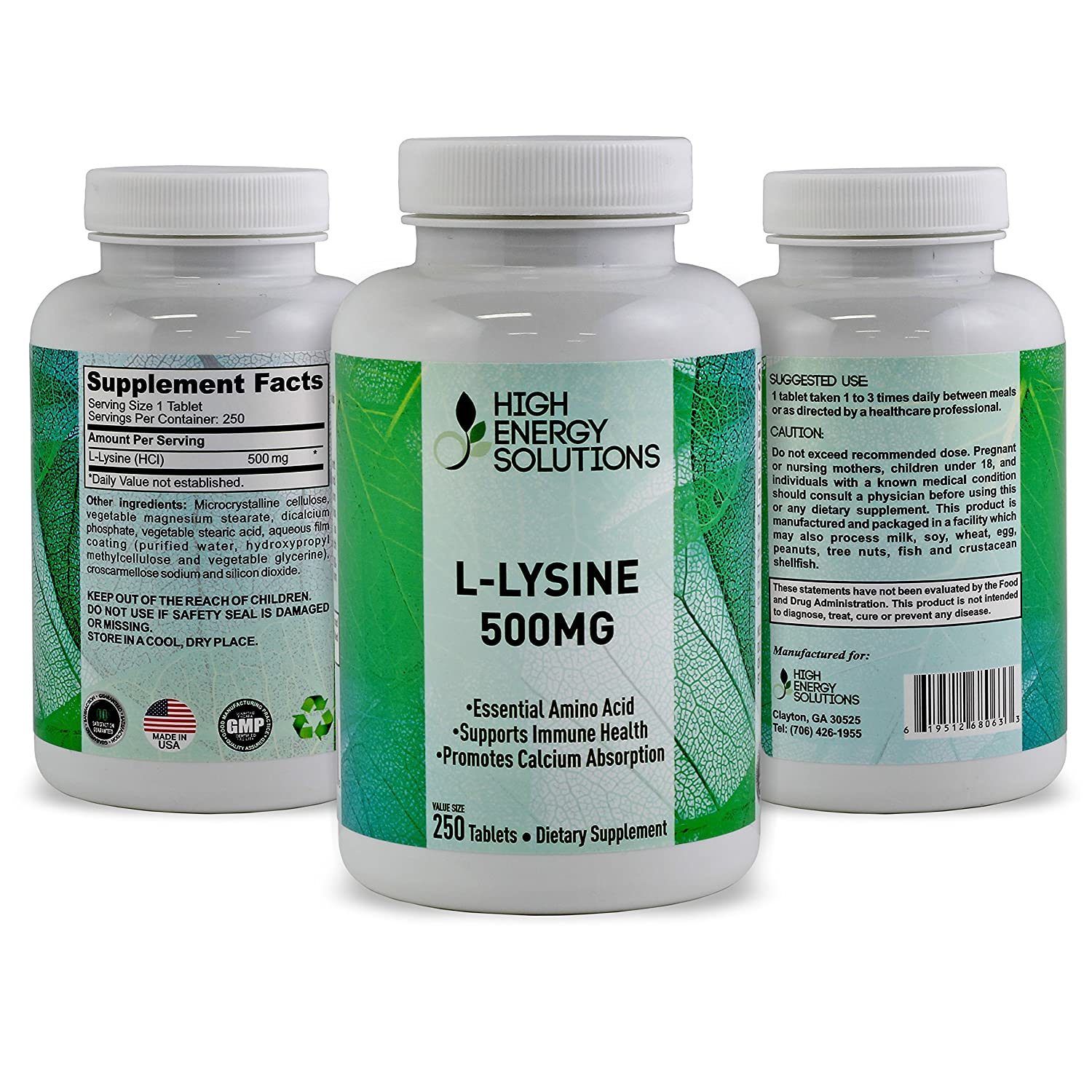Amazon.com: HIGH ENERGY SOLUTIONS - L-LYSINE - Value Sized 250 Tablet Bottle 100% Pure - Potent 500MG Essential Amino Acid Tablets For Amazing Health ...