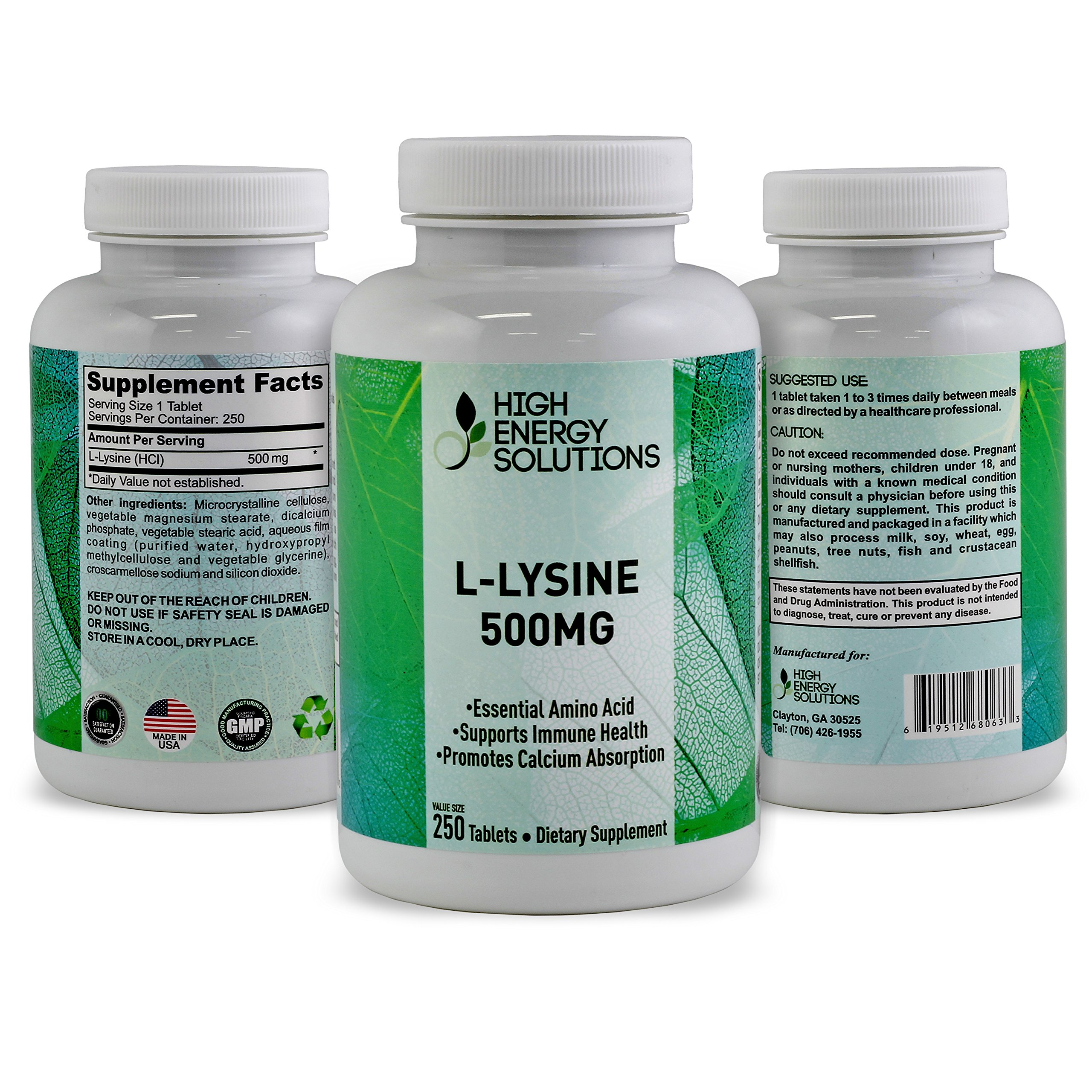 HIGH ENERGY SOLUTIONS - L-LYSINE - Value Sized 250 Tablet Bottle 100% Pure - Potent 500MG Essential Amino Acid Tablets For Amazing Health Benefits - Ultimate Bio-Availability And Absorption GMP - USA