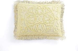 Beatrice Home Fashions Medallion Chenille Pillow Sham, Standard, Yellow