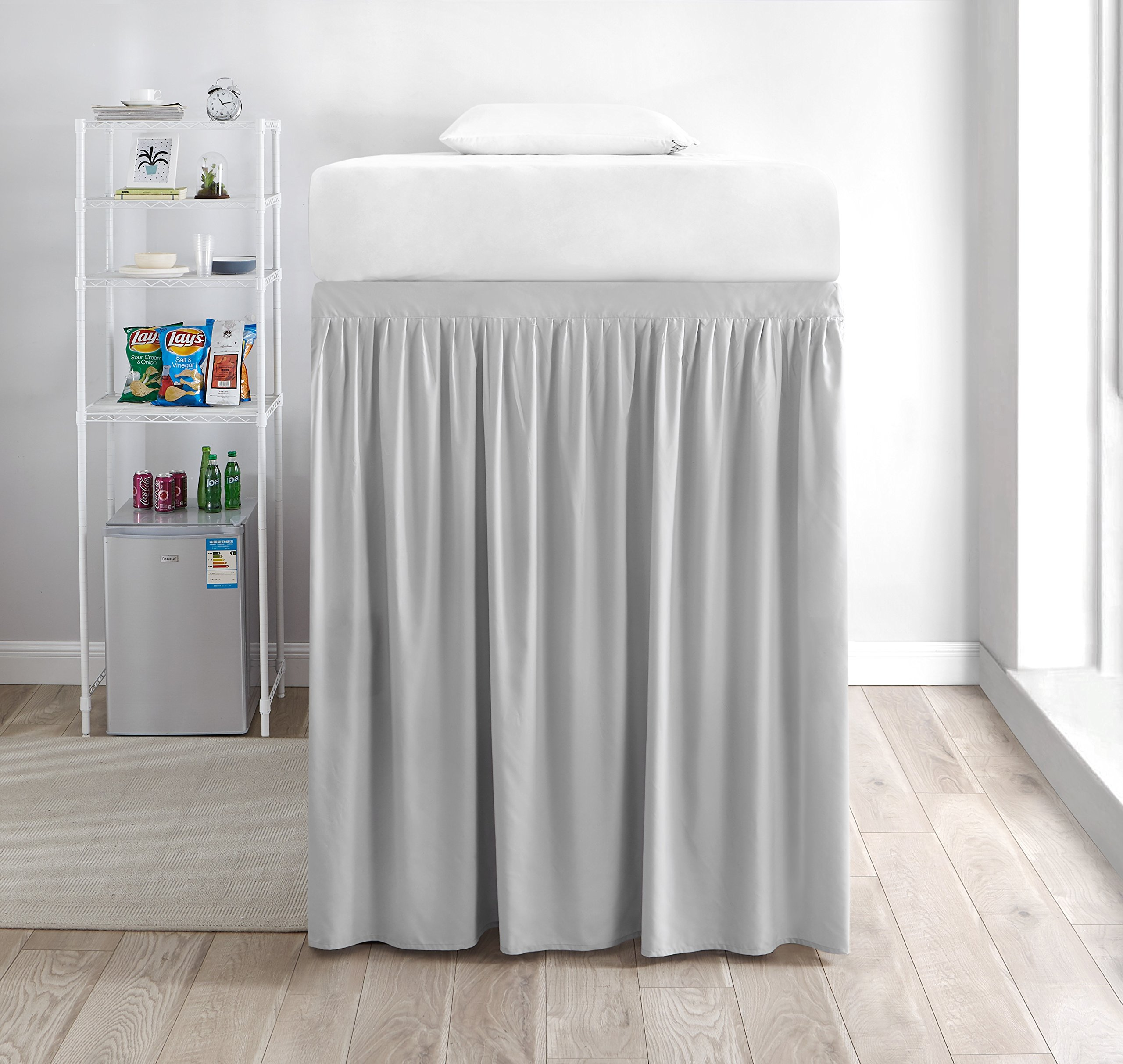 Extended Dorm Sized Bed Skirt Panel with Ties (1 Panel) - Glacier Gray (For raised or lofted beds)