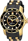 Invicta Men's Pro Diver Collection GMT 18k Gold-Plated Stainless Steel Watch with Black Band