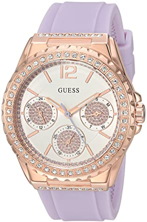 45d40b50c285 Image Unavailable. Image not available for. Color  GUESS Women s Stainless  Steel Quartz Watch with Silicone Strap ...
