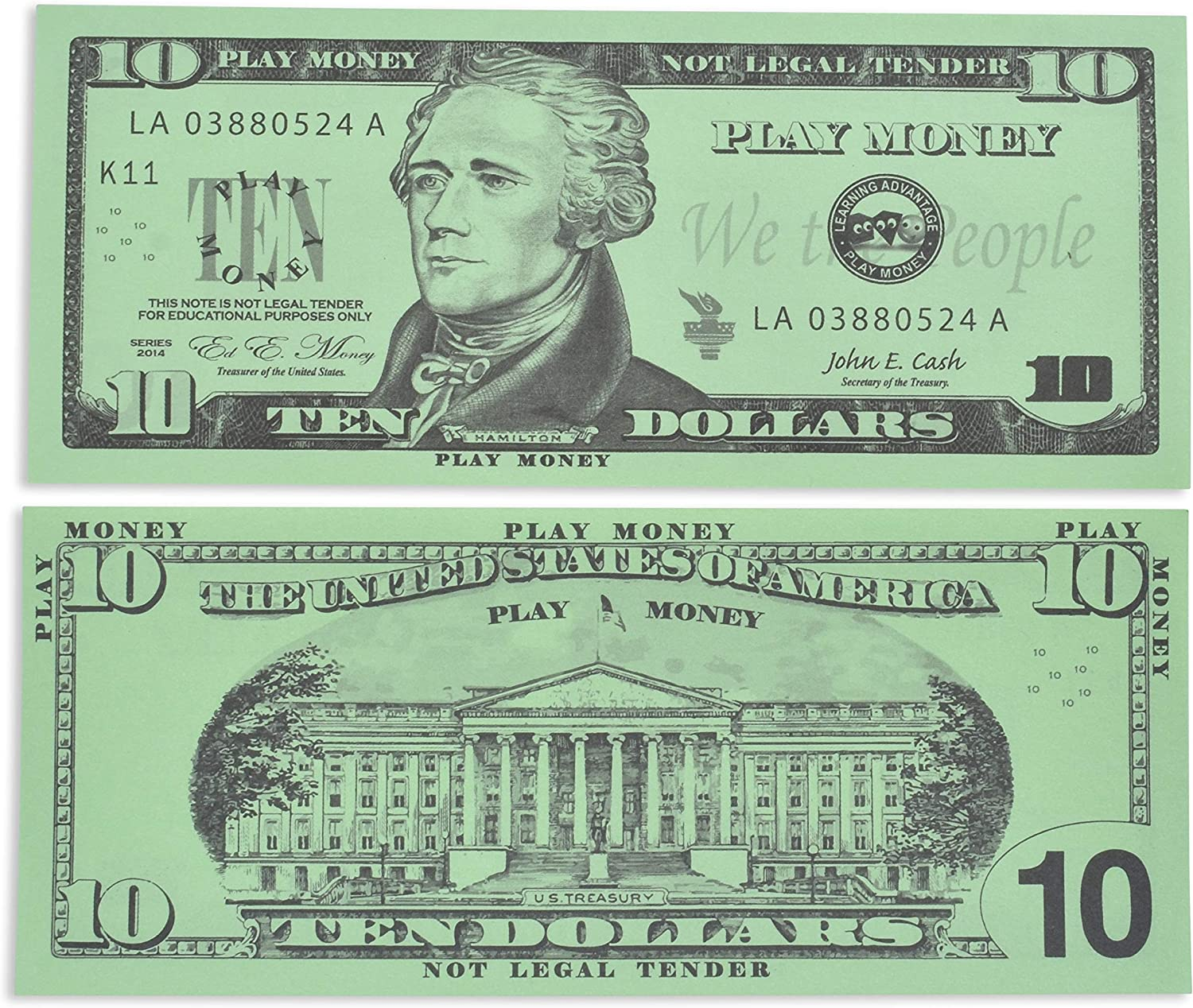 Learning Advantage Ten Dollar Play Bills - Set of 100 $10 Paper Bills - Designed and Sized Like Real US Currency - Teach Currency, Counting and Math with Play Money