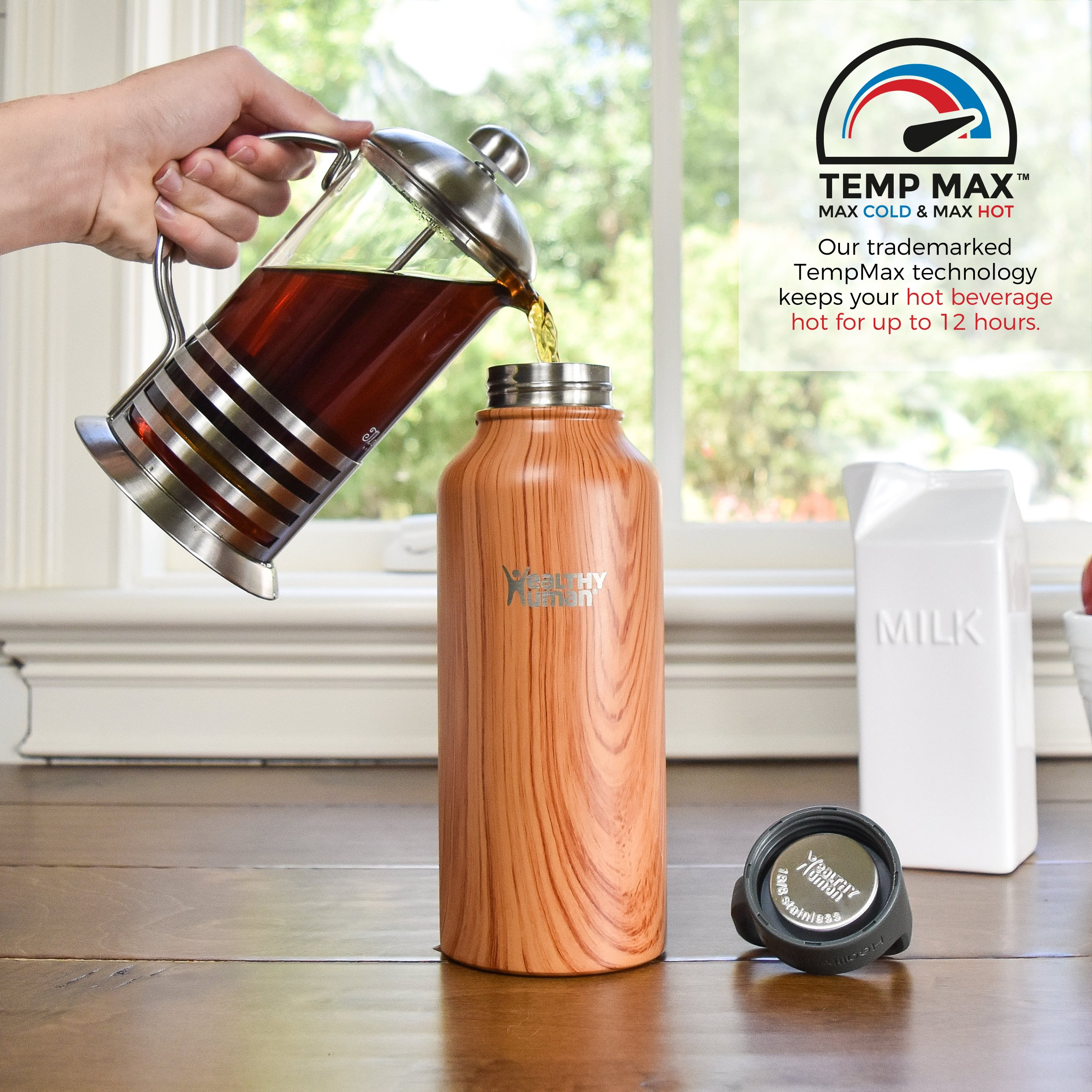 Healthy Human Stainless Steel Insulated Travel Sports Water Bottle Thermos - Leak Proof - No Sweating, Keeps Your Drink Hot & Cold - Natural Wood - 32 oz by Healthy Human (Image #5)