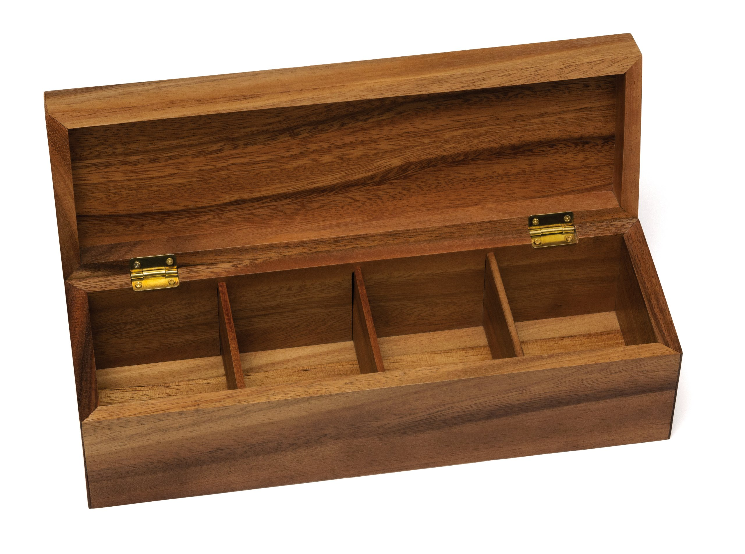 Lipper International 1128 Acacia Wood Tea Box with 4 Sections, 12-1/2'' x 4-1/8'' x 3-7/8''