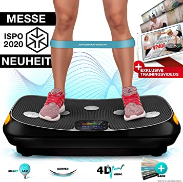 Trainingsvideo und Bluetooth-Lautsprecher skandika 4D Vibrationsplatte V2000 Vibration Plate im Curved Design mit Smart LED Technologie