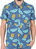 Cranberry Tusok Men Short Sleeve Shirt Casual Hawaiian Aloha Flower Floral Leaf Party Beach Vacation Printed Indigo Blue Yellow Pineapple Fruit
