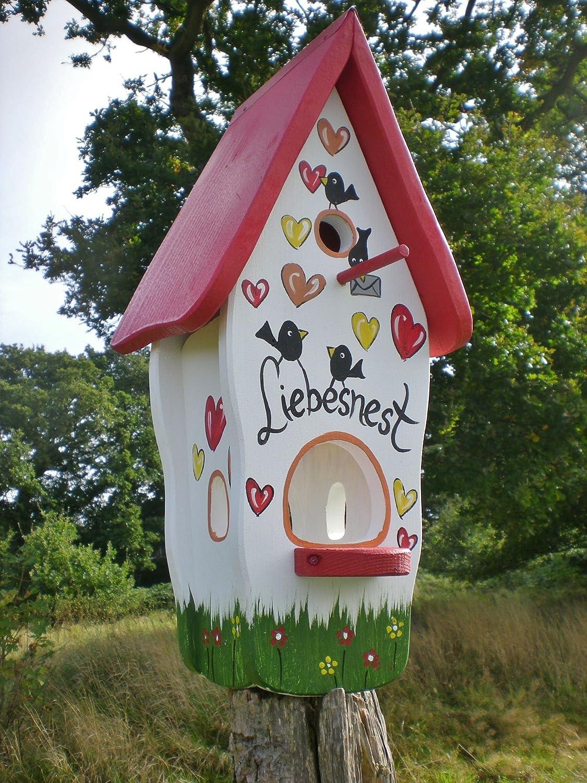 Die Vogelvilla Weiss 2in1 Vogelhaus /& Nistkasten Minivilla Spezial Liebesnest Brief