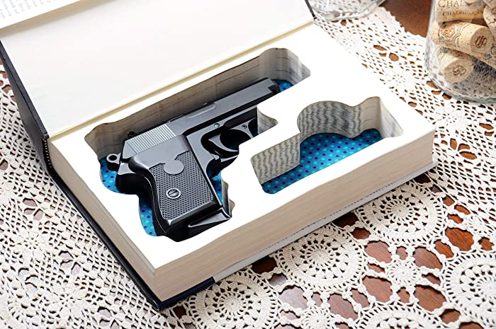 Custom-made Gun Storage Book Safe for Compact Handguns - Made-to-Order -  Fits: Glock, Ruger, Springfield, S&W, Colt, CZ, Sig Sauer, Taurus, Kel-tec,