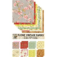 """Paper Pack (24sh 6""""x6"""") Oriental Vintage Flowers Japanese FLONZ Paper for Scrapbooking and Craft"""