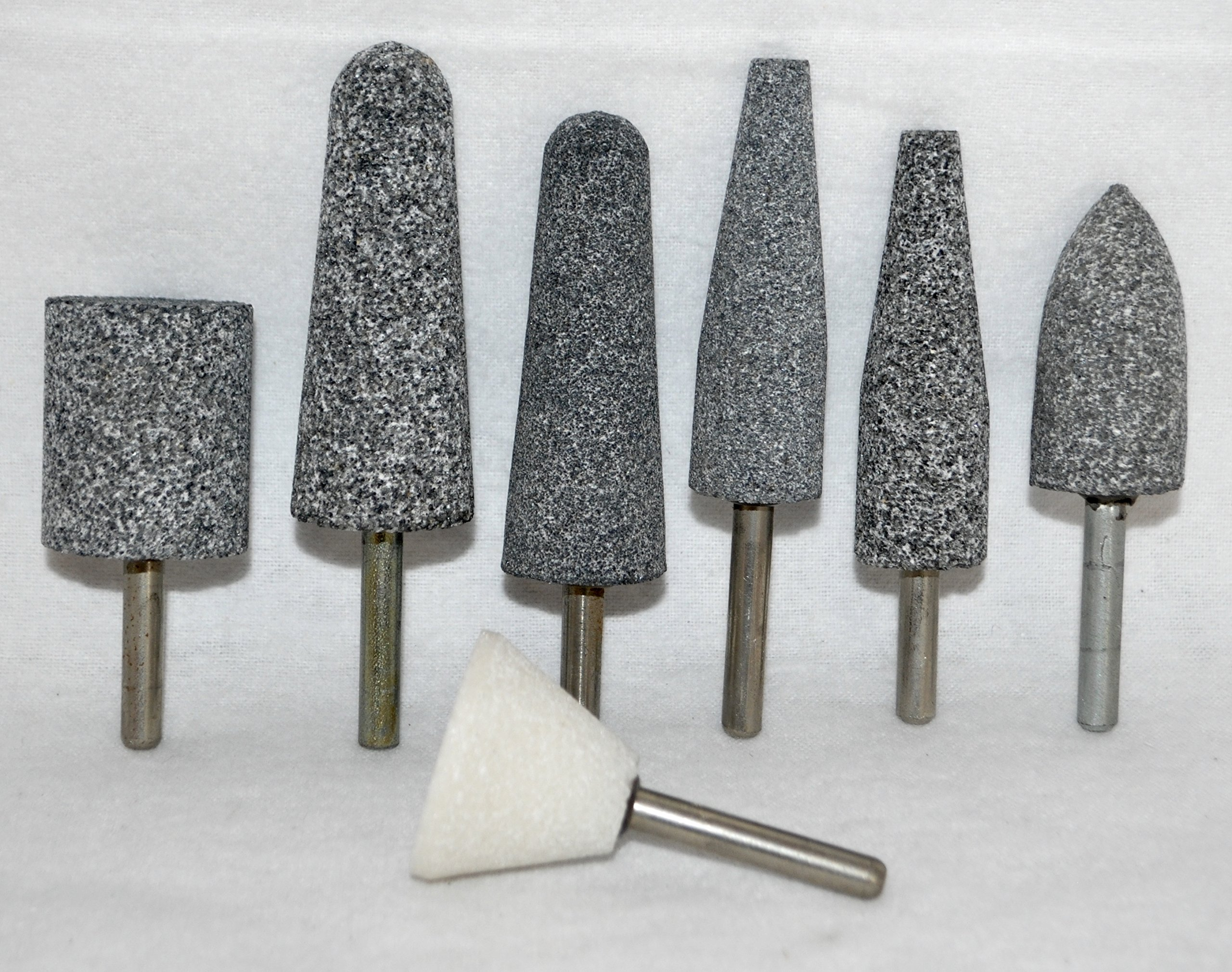 7 Pcs Set of Large 2 3/4'' Mounted Points - Abrasive Grinding Stone Bits with 1/4'' Shank