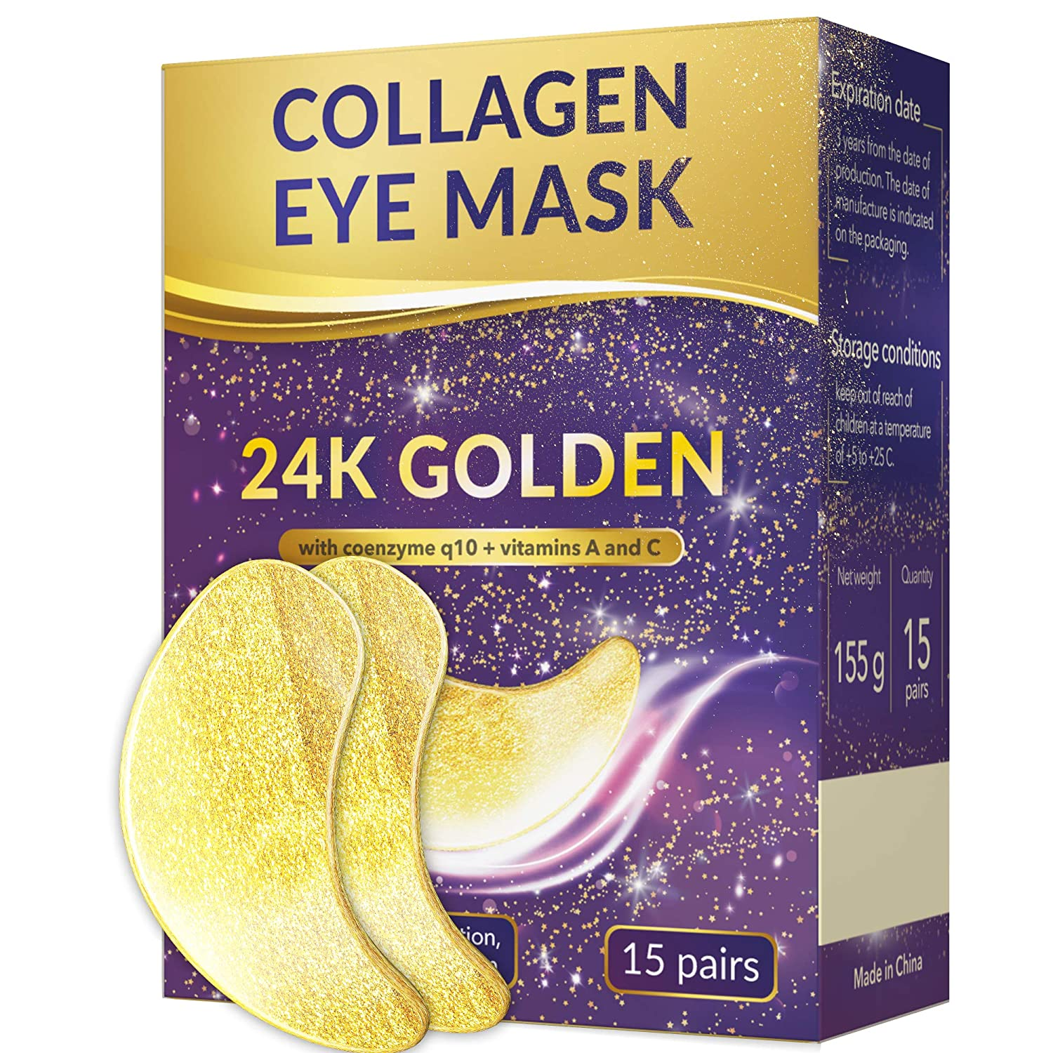 24k gold eye mask - Under Eye Patches - Under Eye Bags Treatment - Collagen Eye Mask - Hyaluronic acid eye mask - Reducing Dark Circles - Eye gel patches - Vitamin C eye mask - Hydrogel patches