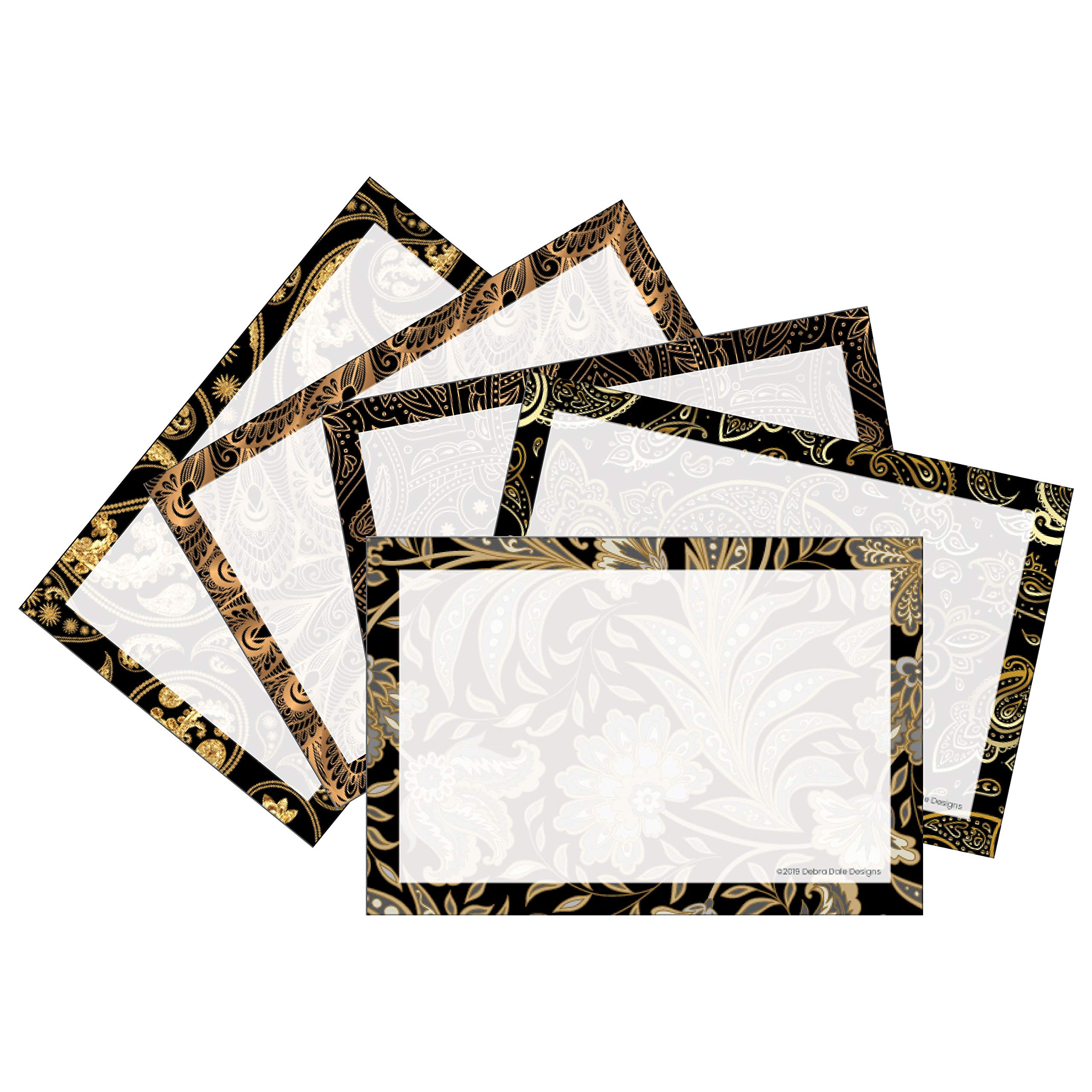 Debra Dale Designs - Unruled Index Cards With Black and Gold Printed Border - 200 Cards - 4'' x 6'' Inches - Premium 140# Heavy Thick Index Card Stock by DEBRADALE DESIGNS
