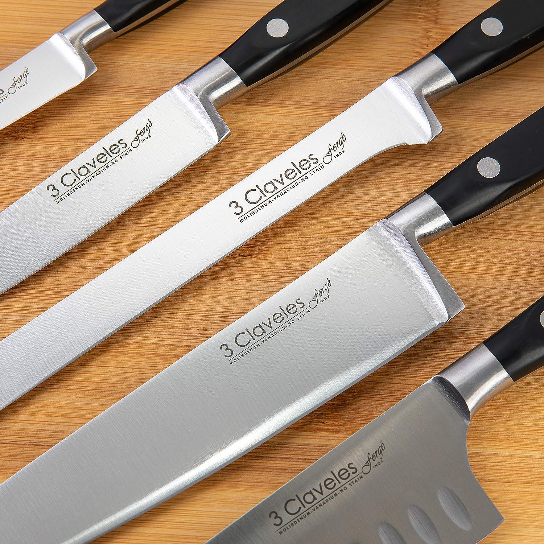 Compra 3 Claveles Juego de 5 Cuchillos Profesionales en Acero Inoxidable Gama Forgé, Selección Master Chef, Incluye Pinzas Jamón y Espinas en Amazon.es